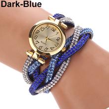 Popular Good Design Two Tone Wrap Faux Suede Quartz Analog Rhinestone Bracelet Watch NO181 5V69 W2E8D