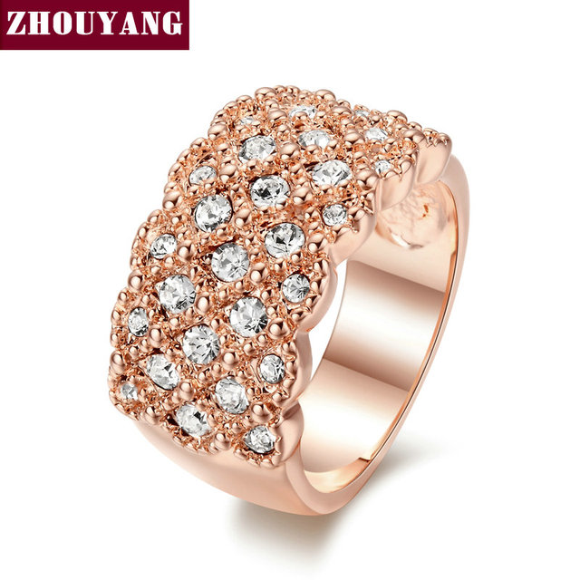 Top Quality ZYR020 Fully-Jewelled Ring 18K Rose Gold Plated  Wedding Ring  Austrian Crystals Full Sizes Wholesale