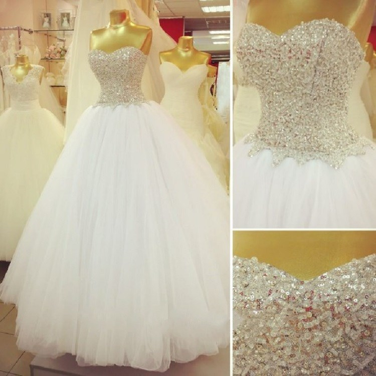Big Ball Gown Wedding Dresses With Bling : Ball gown wedding dress vestido de noiva rhinestone beaded