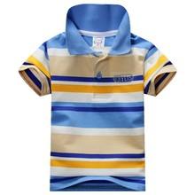 2016 Baby Boys Kid Tops T-Shirt Summer Short Sleeve T Shirt Striped Polo Shirt Tops Hot Sale