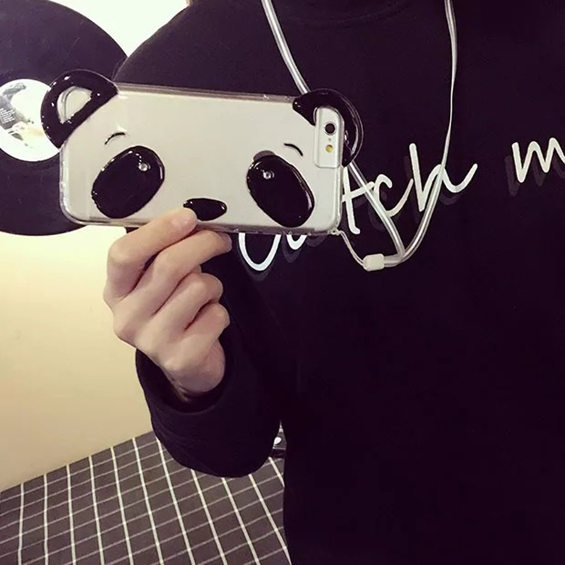 """Newest Cute 3D Panda Transparent Clear Soft Silicone Phone Cases With Rope For iPhone 6 4.7"""" 6 Plus NBC72(China (Mainland))"""