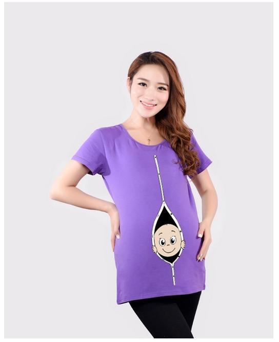 European fashion maternity blouse clothing for pregnant women T-shirt loose short sleeved shirt Korean cartoon Costume