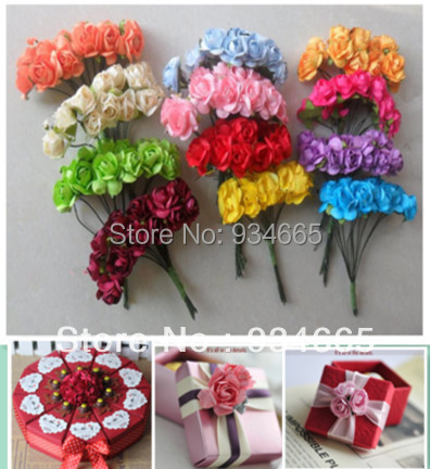 Paper Flowers ,Wedding decoration , Mini Rose Flower Hand Made Small Wedding Bouquet Scrapbooking Christmas Decor, - X-Colorful Life store