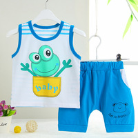 (2pcs/set) 100% Cotton High Quality  0-24M Baby Clothing Vest + Shorts  Boys Girls Clothes Cartoon Frog