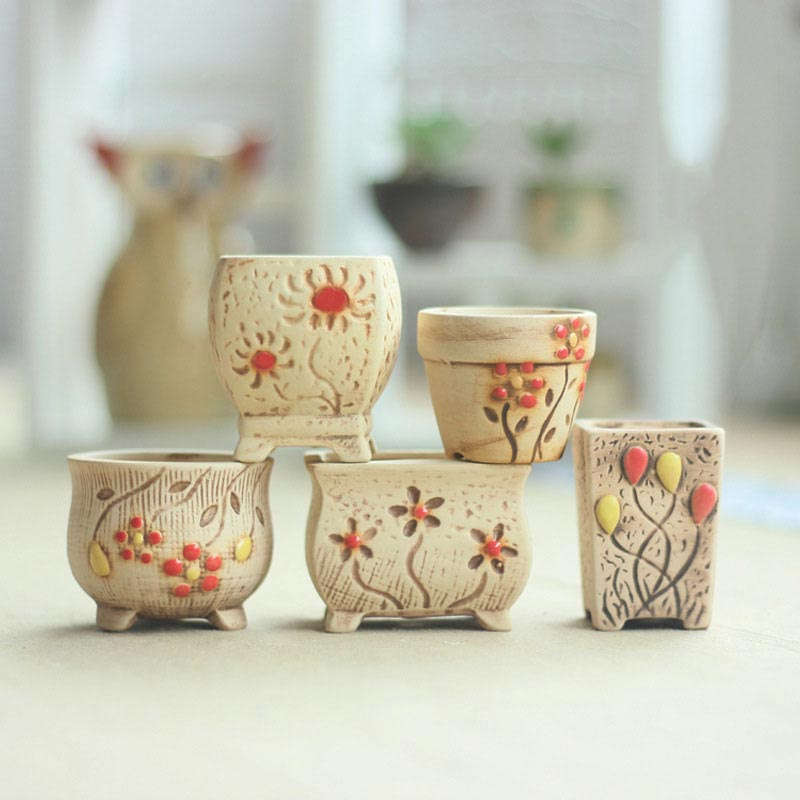 New Arrival Ceramic Pots Mini Flower Pots Creative Home Decoration Ceramic Crafts #1737639(China (Mainland))