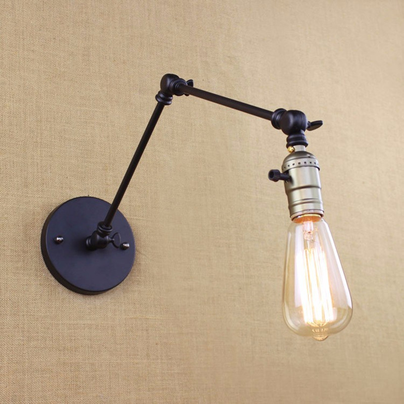 Edison Light Bulb Long Arm Switch Wall Lamp Warehouse Loft American Country R