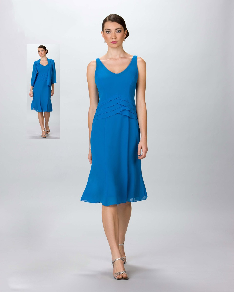 2016 Summer Designer Fashion Blue Color Knee Length Mother