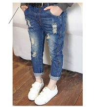 2016 Class 3~10 years Girls Kids Soft Classic jeans pants trousers 100% cotton soft material Straight washed jeans kz006(China (Mainland))