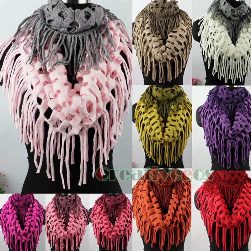Fashion Trendy Casual Winter Warm Hollow Out Net Tassel 2-Tone Knit Shawl Infinity 2-Loop Cowl Eternity Endless Circle Scarf New(China (Mainland))