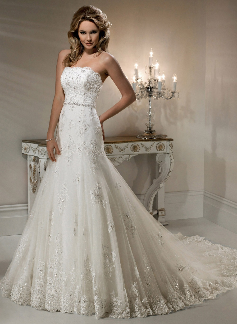 Wedding dresses yw010 hot sale new elegant mermaid bridal for Beading for wedding dress