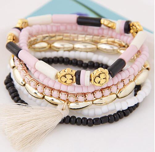 2016 New Fashion Personalized Bohemian Ethnic Multilayer Beaded Tassel Elastic Charm Bracelets Jewelry for Women 1B019(China (Mainland))