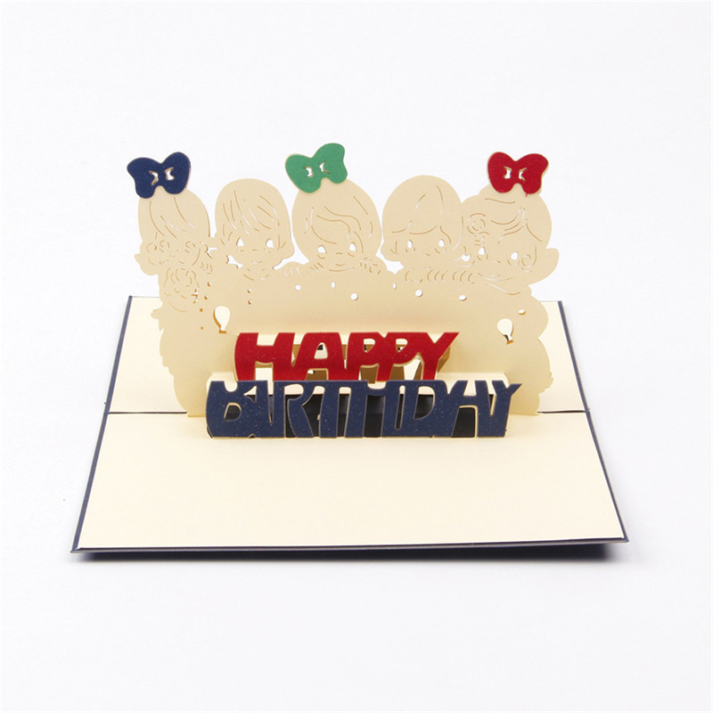 5pcs/lot Highly Personality Greeting &Gift Birthday Cards Handmad Kirigami & Origami 3D Pop UP Card(China (Mainland))