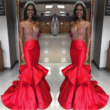 Sexy Red Mermaid Spaghetti Straps Long Prom Dresses Beaded Sequined Formal Woman Gowns vestidos de baile ballkleider longo - Instock Dress store