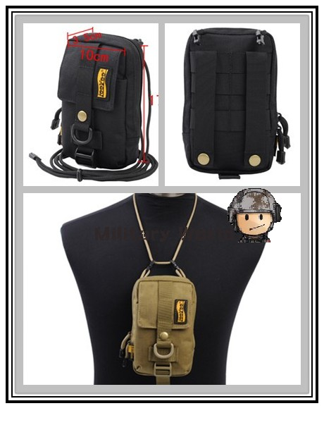 2 Colors LooYoo A29 Airsoft Tactical 1050D Molle Waterproof Nylon 6.3'' Cellphone Pouch Waist Bag Key Bag - Black/Tan