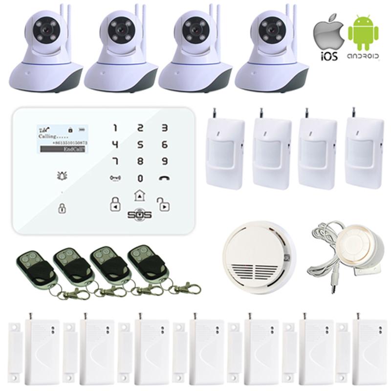 Camera Security Wireless WIFI IP Camera PTZ Remote Control Monitoring Indoor Panel Alarm GSM Home Burglar Smoke Detector W11L(Hong Kong)