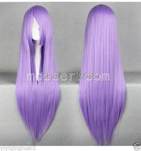 Saint Seiya Athena Long Light Purple Cosplay Straight Wig Natural Kanekalon Fiber no lace Hair full Wigs(China (Mainland))