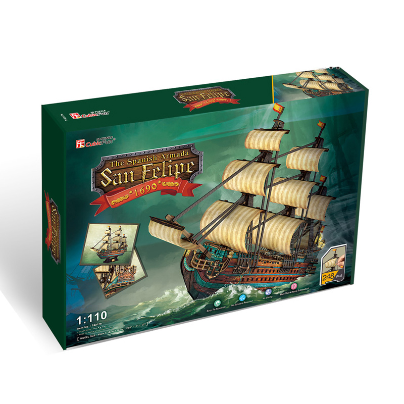 Birthday Gifts 3D Jigsaw Puzzle Game The San Felipe Ship Model DIY Puzzles for Adults, Children Kids Toys Educational Toys(China (Mainland))