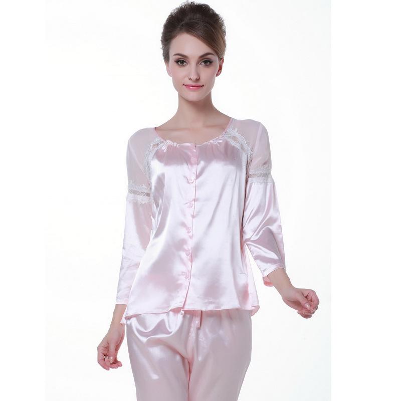 2015 Autumn New Fashion Pink Faux Silk Women Pajamas Sexy Lace Satin Pyjamas Women Silk Sleeping Wear Beautiful Home Clothing(China (Mainland))