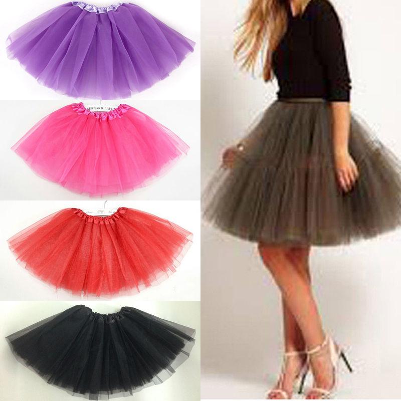 Women Layers Tulle Adult Tutu Skirt Petticoat Pettiskirt Princess Ballet Dress