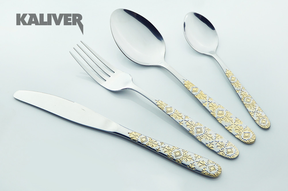 Buy Stainless Steel Cutlery Set Gold Plated Dinnerware Sets 24 Pieces Fork Spoon Knife Set Exquisite Western Style Tableware cheap