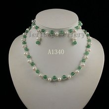 Wholesale green jade white pearl necklace bracelet earring jewelry set new women's jewelry Christmas gifts luck jewelry A1340(China (Mainland))