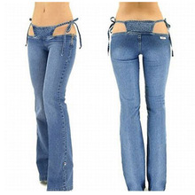 Sexy Low Rise/waist Jeans Denim Flare Pants Hot Thong in One Piece Trousers Women Outfit Clothing Club Wear
