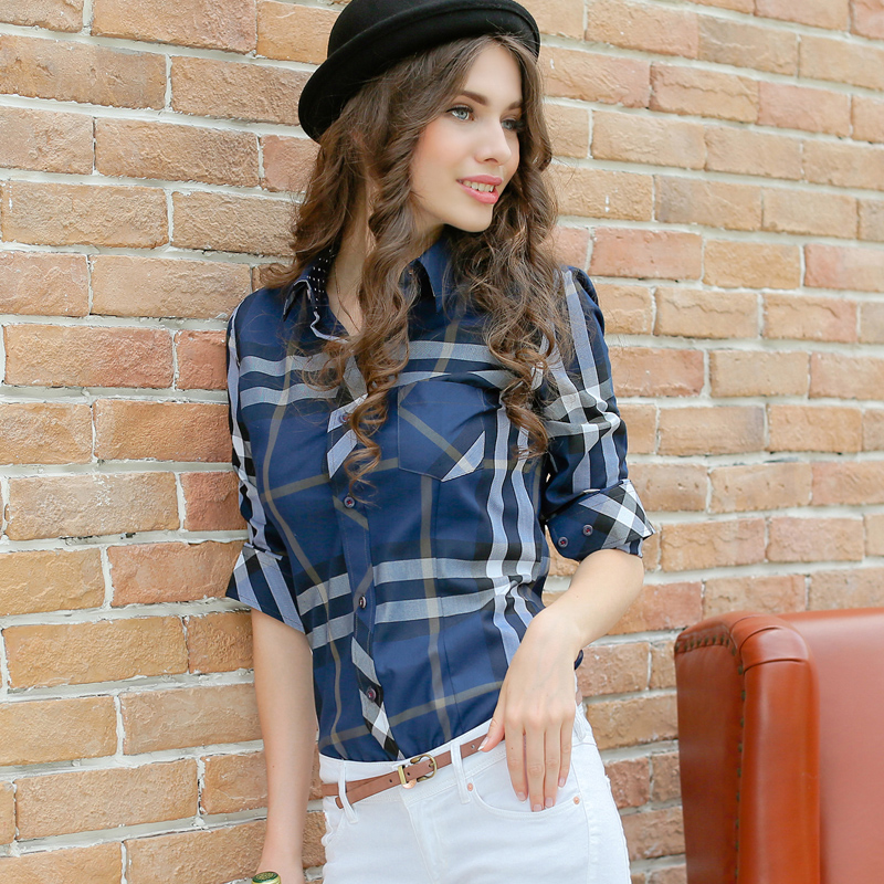 2015 new autumn and winter vintage Plaid cotton shirt blouse women long sleeve women's casual plaid printing blouse plus size(China (Mainland))