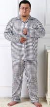 Plus size pajama sets for men sleepwear long-sleeve cotton 2016 spring and autumn male Large lounge set 4XL 5XL(China (Mainland))
