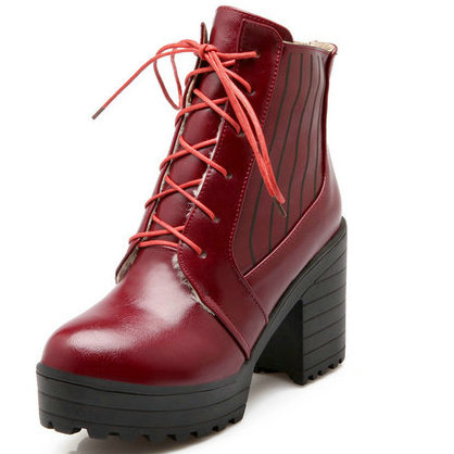 Chunky Heel Platform High Heel Boots for Women 2015 Round toe Lace-up Ankle Boots Shoes Women Winter Snow Boots Martin Boots
