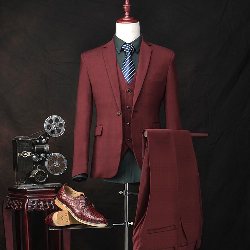 ( Куртка + брюки + жилет ) 2015 мода костюмы пиджак тонкий сетки винный красный пром жениха свадебное платье этап певица одежды