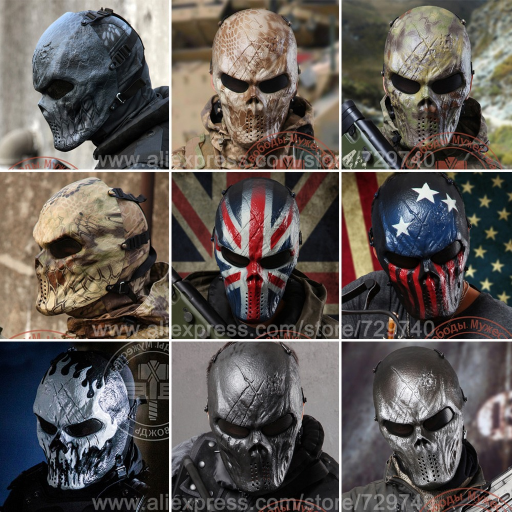 9 Style Typhon Camouflage Tactical Masks Outdoor Military Wargame CS Paintball Balaclava Airsoft Skull Protection Full Face Mask(China (Mainland))