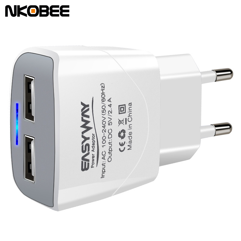NKOBEE 5V2.4A LED 2 Port USB Charger Universal Travel Adapter Portable EU Plug Phone Smart Charger for iPhone iPad for samsung(China (Mainland))