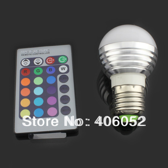 Energy saving+Remote Control 16 Colors Changing rgb led lights ,3W E27 RGB LED lamp,85-265V RGB LED light, free shipping(China (Mainland))
