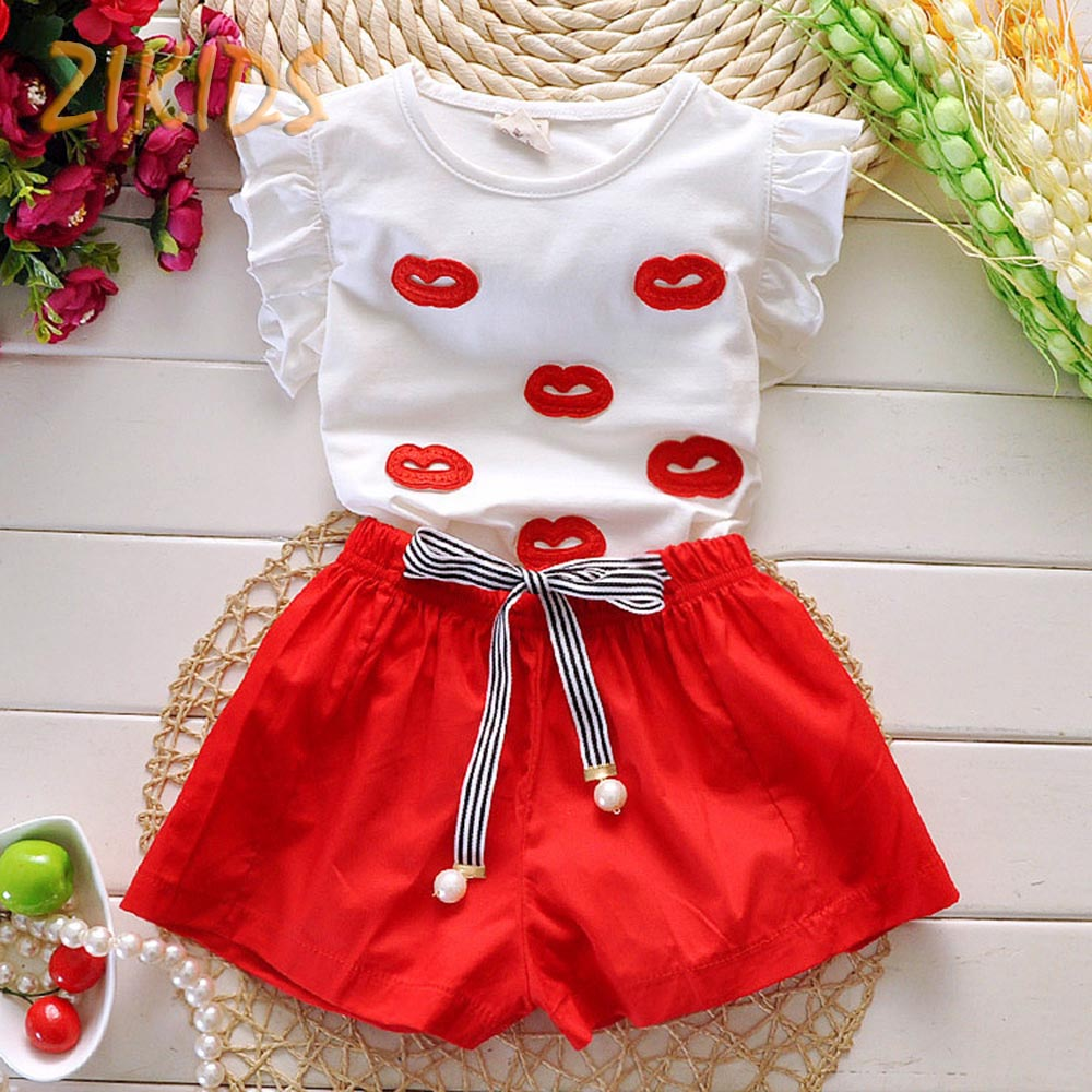 Baby Girl T-shirts + Shorts Pants Casual Lips Pattern Summer Girls Clothing Suit Children Brands Kids Clothes Sets for Girl(China (Mainland))