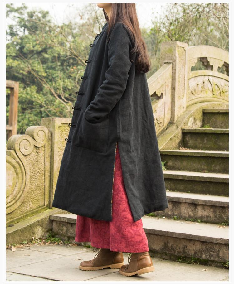 Autumn Winter Folk Style XXLdust coat cotton-padded clothes patchwork trench coat  Windbreaker Casual Oversized Outwear