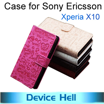 Free shipping Luxury grand cute flip leather cover case for Sony ericsson xperia x10 smart phone cartoon cases +Screen protector
