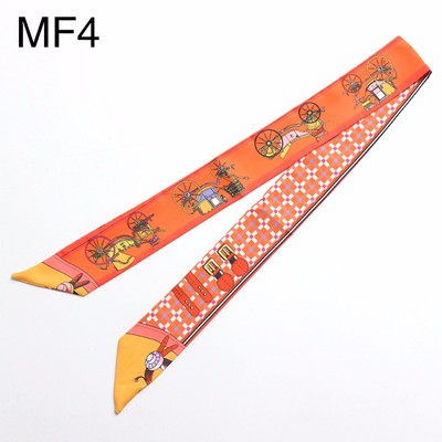SALUTTO Brand High Quality Lady Silk Twilly Scarf Bags Handle Echarpes Printed Scarves Small Ribbon Hair Band Bandeaus