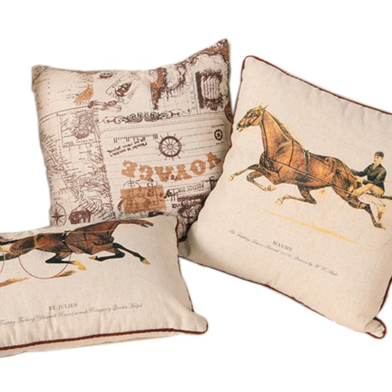 High Quality Vintage mediterranean Horse/Sailing Linen Sofa Cushion Cover 30*50,45*45,50*50,60*60cm(China (Mainland))