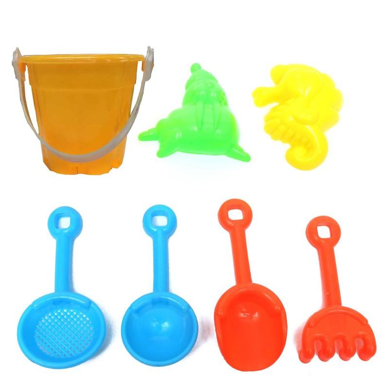 7pcs/set Kids Funny Tools Sand Play Toys Set Water Beach Children Seaside Bucket Shovel Rake Kit Building Sea Horse Molds(China (Mainland))