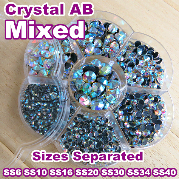 New ! Mixed Sizes With Box Packing ! 7 Sizes Crystal AB 3000pcs/Lot DMC HotFix Rhinestones SS6 To SS40 Hot Fix Stones B2022(China (Mainland))