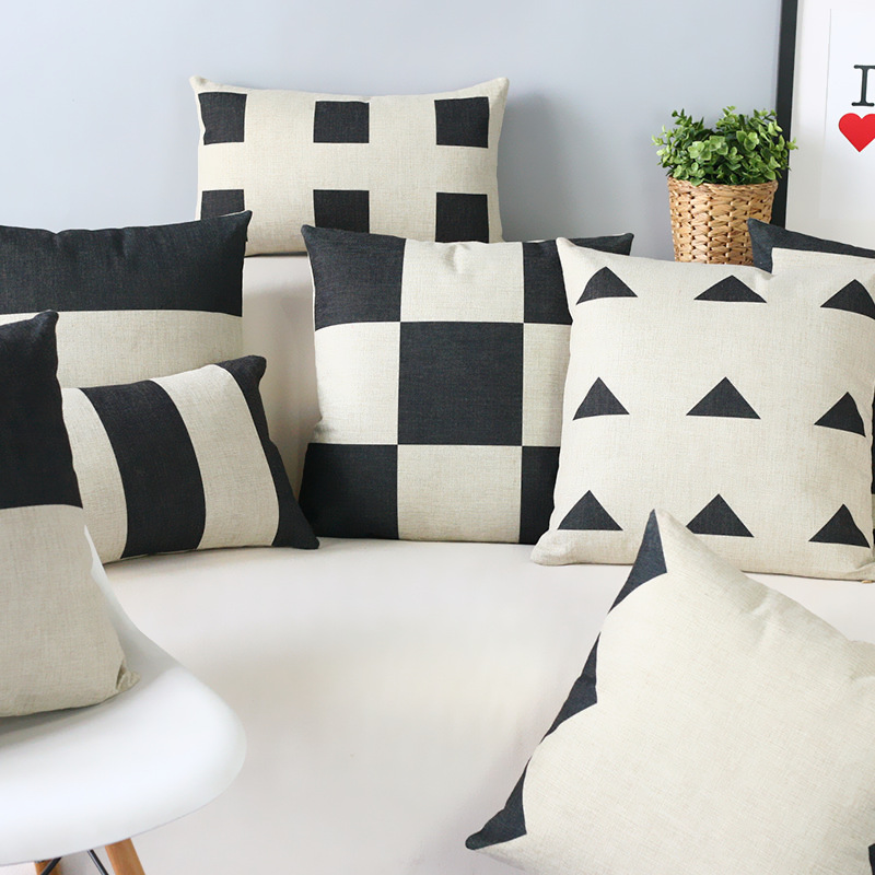 Black and white geometric contracted and contemporary cotton pillowcase car sofa cushion for leaning on of 45 * 45(China (Mainland))