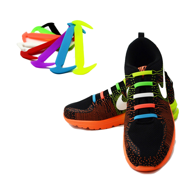 12Pc/Set Running No Tie Shoelaces Fashion Unisex Women Men Athletic Elastic Silicone Shoe Lace All Sneakers Fit Strap