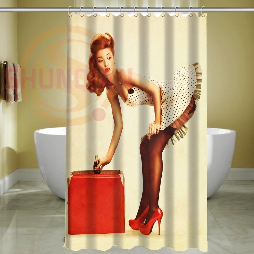 custom sexy pin up girl waterproof bathroom fabric shower