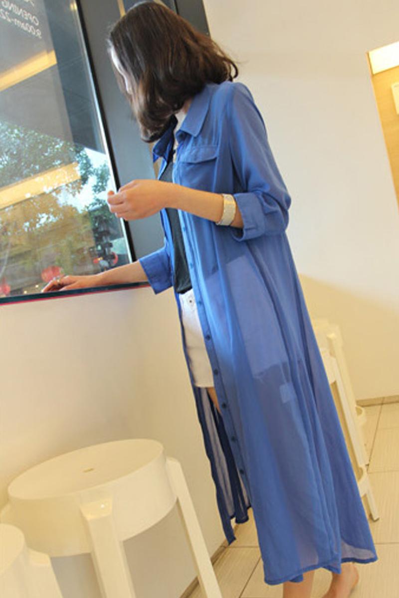 2013 women's spring shirt perspectivity long design chiffon sun protection clothing outerwear 716  -  merry xu's store store