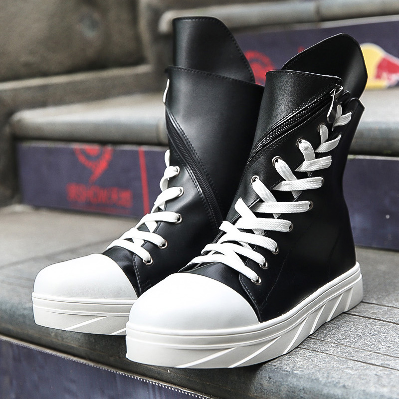 Bandage Preppy Pu Street Fashion Korean Fitness Platform Round Toe Funky Hip Hop Youth White Boots Breathable Thread Booties<br><br>Aliexpress