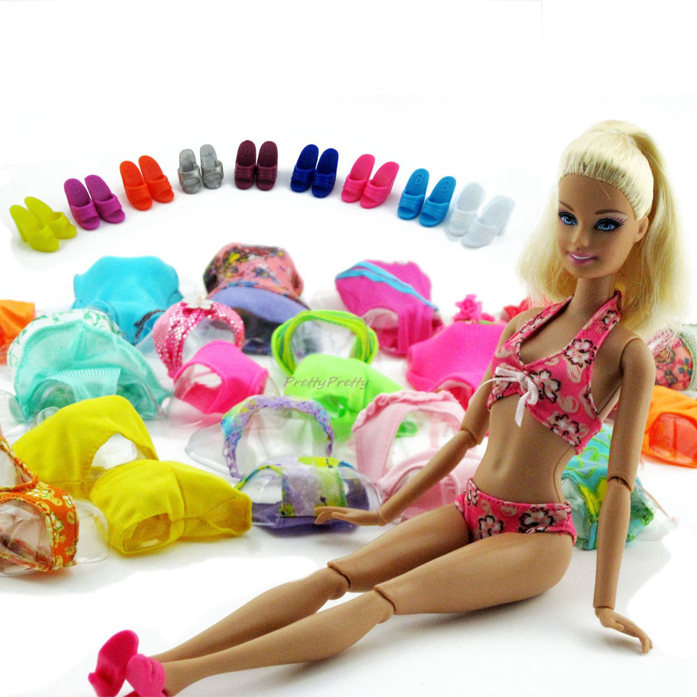 Lot 20 Gadgets = 10 Units Trend Swimsuits Seashore Bathing Swimwear + 10 Slippers Outfits For Barbie Doll xMas Reward Child Toy