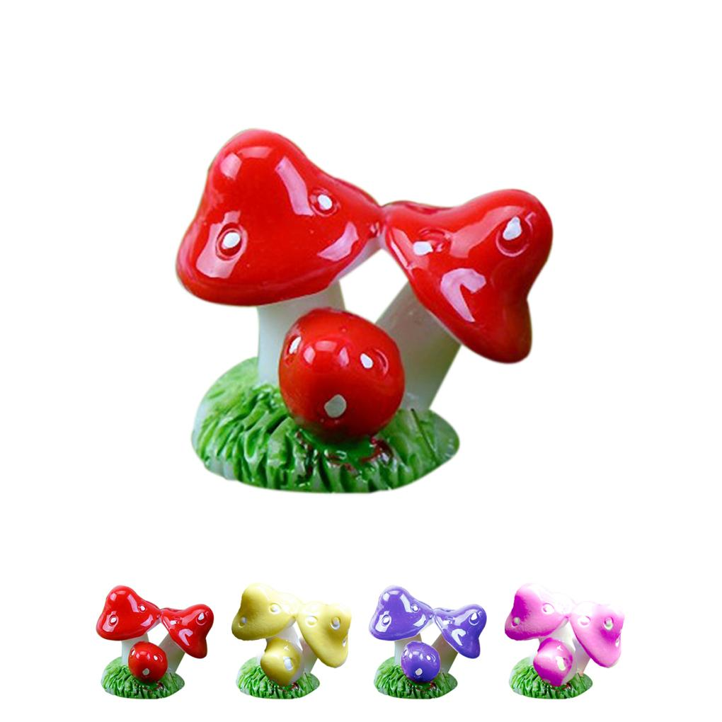 2015 new 3 colorful little mushroom in one resin crafts 4 colors design for garden decor pot culture decoration JJ1169(China (Mainland))