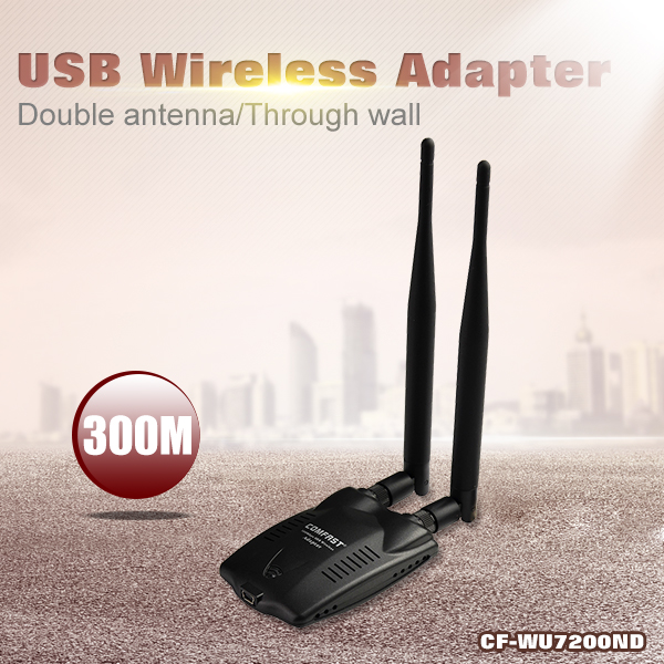 High power 300M Antena Wifi Adapter Dual 6dBi 802.11 n/g/b Wireless N wi fi antenna Desktop singal receiver/transmitter Booster(China (Mainland))