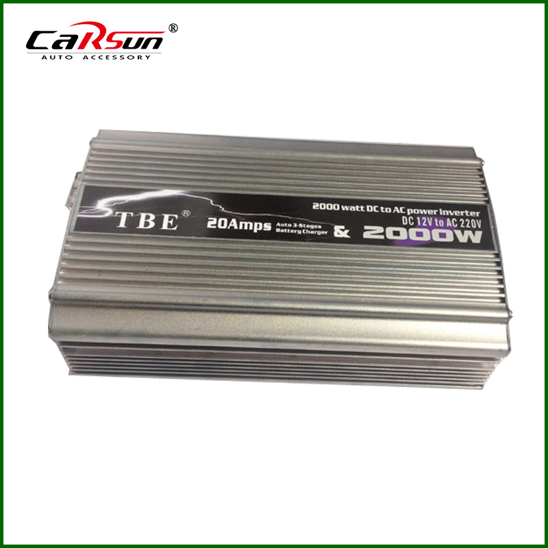 Battery Charger DC12V/24V/48V to AC110V/220V 2000W Power Inverter With Charger Car Converter For Grid Solar Wind Power System(China (Mainland))