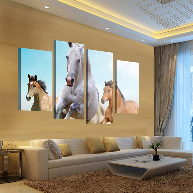 2015 Hot Sell 4 Panel Running White Horse Large Hd Picture